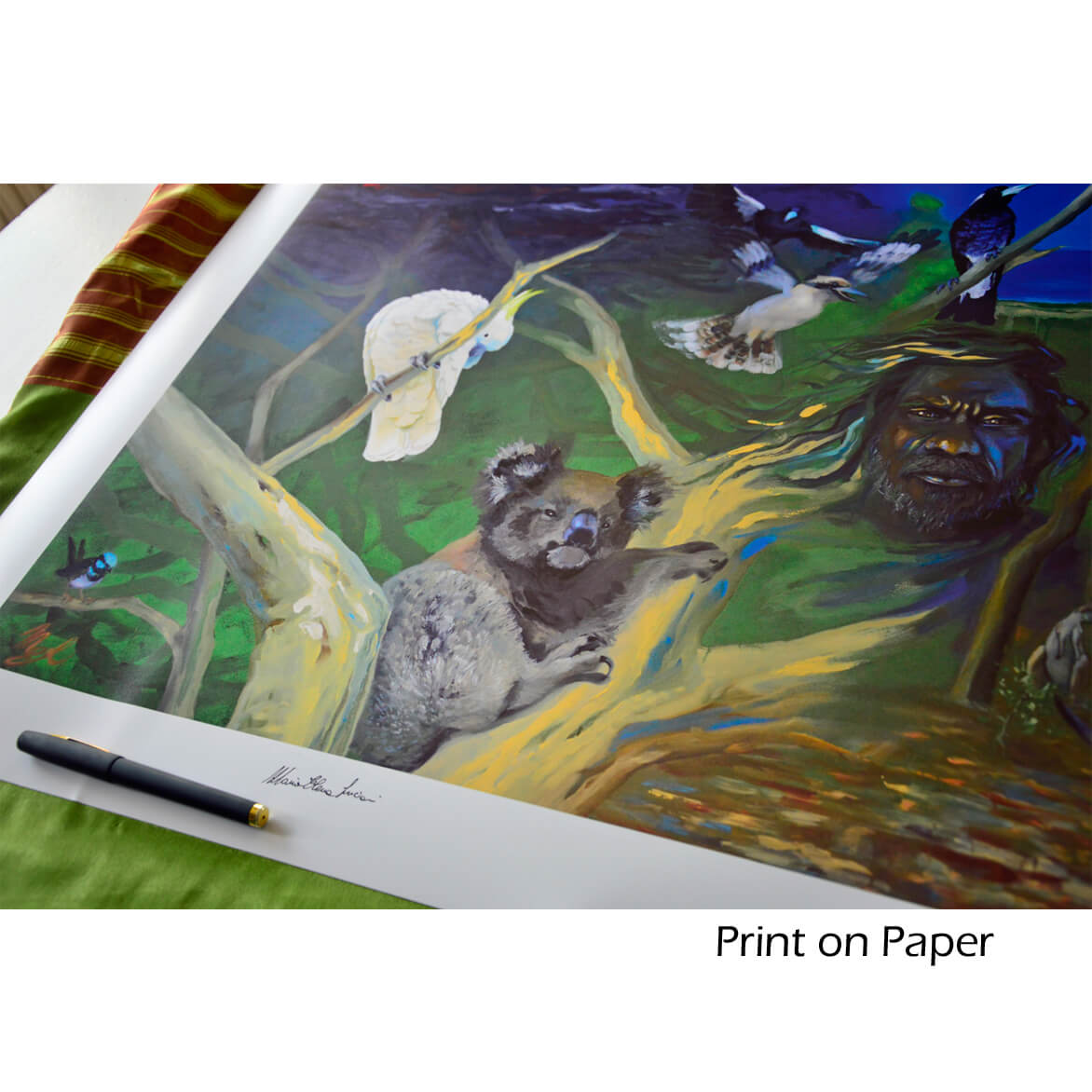Hand signed print on paper with Koala and Australian nature.