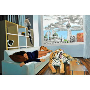 Mixed media artwork with animals and girl in an apartment with Berlin view.