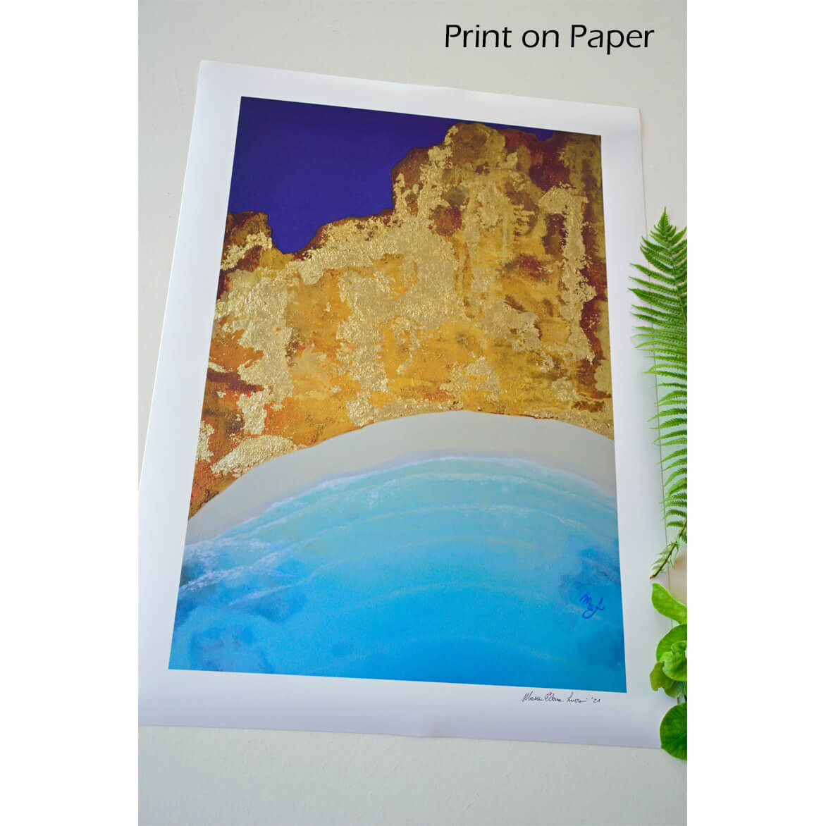 Ocean and abstract art, printed.