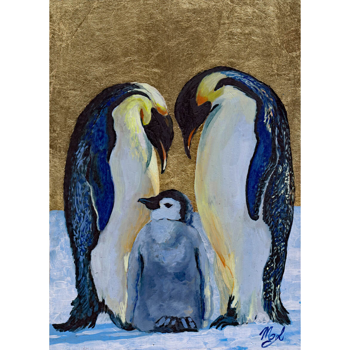 A family of penguins represented as the Holy Family