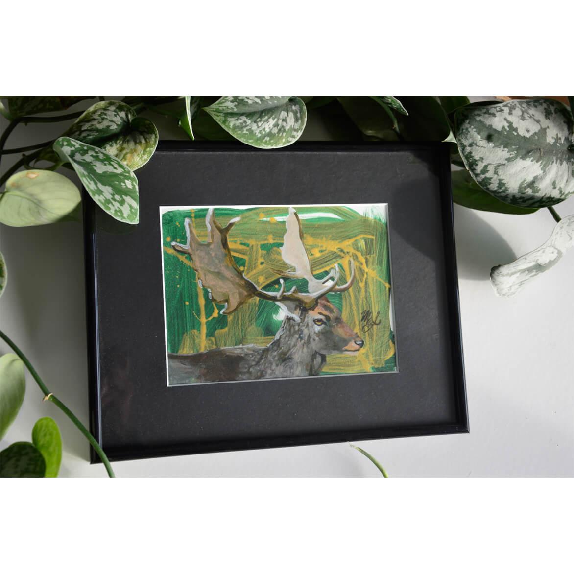 Painting depicting a fallow deer.