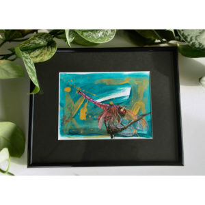 Acrylic painting on paper depicting a dragonfly on an abstract background.