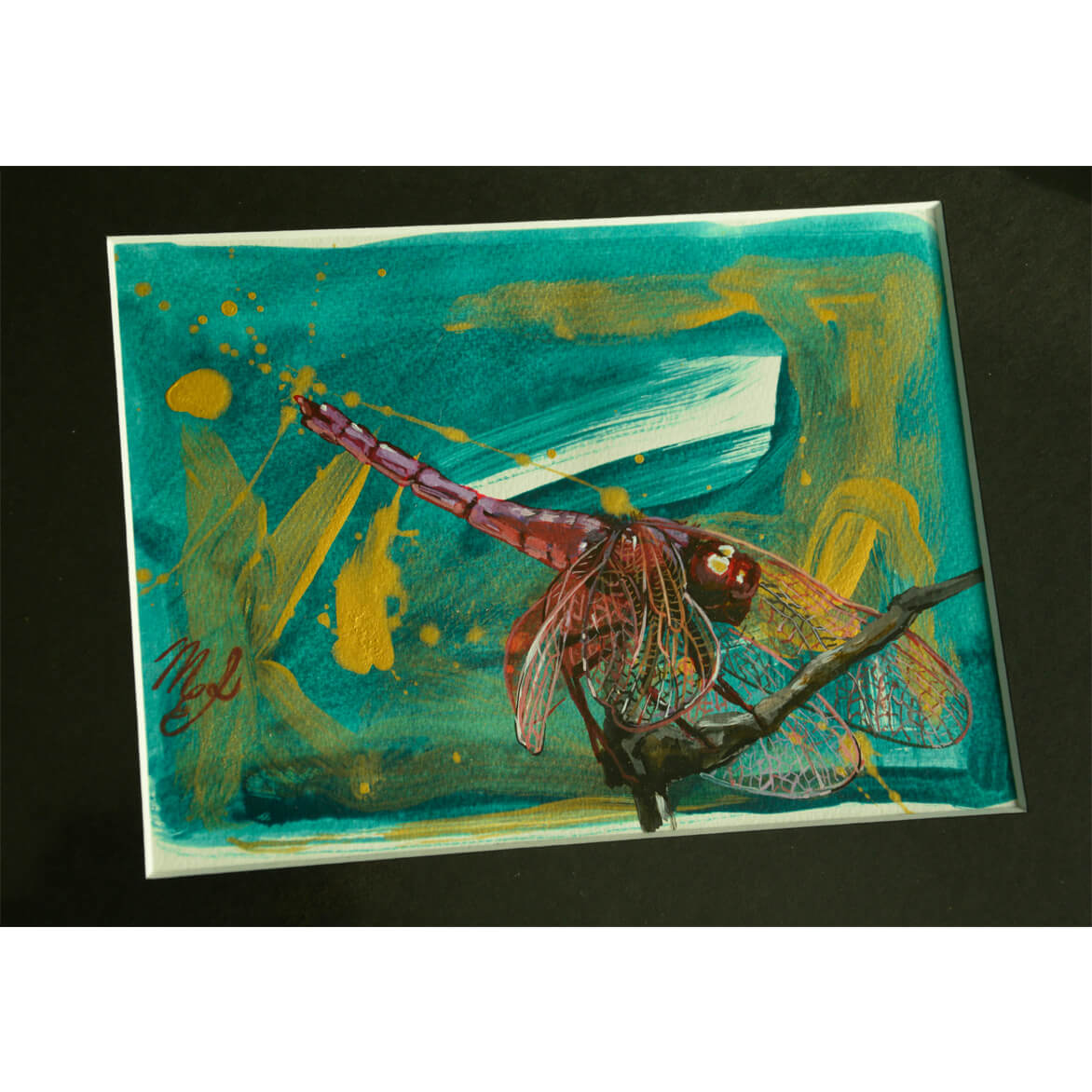 Acrylic painting on paper depicting a dragonfly.