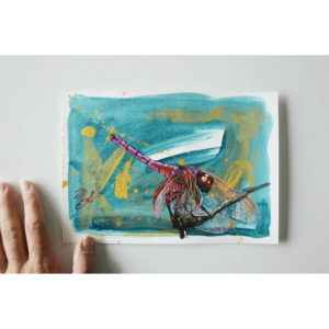 Small acrylic painting on paper depicting a dragonfly.