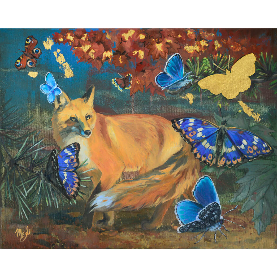Oil painting with fox, butterflies and gold leaf details.