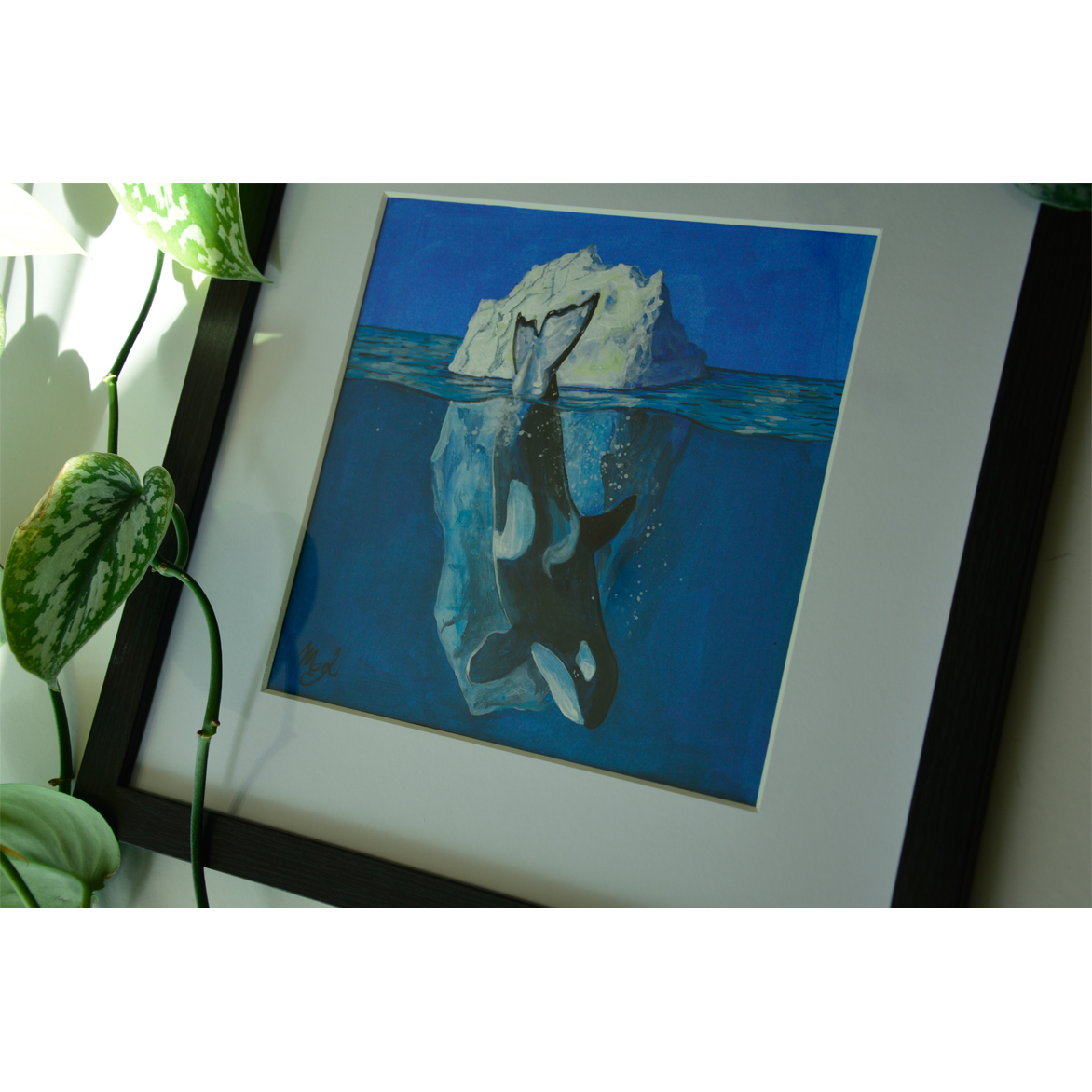 Framed painting in acrylic technique with Arctic subject.