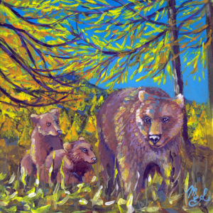 Painting representing a family of bears in the woods
