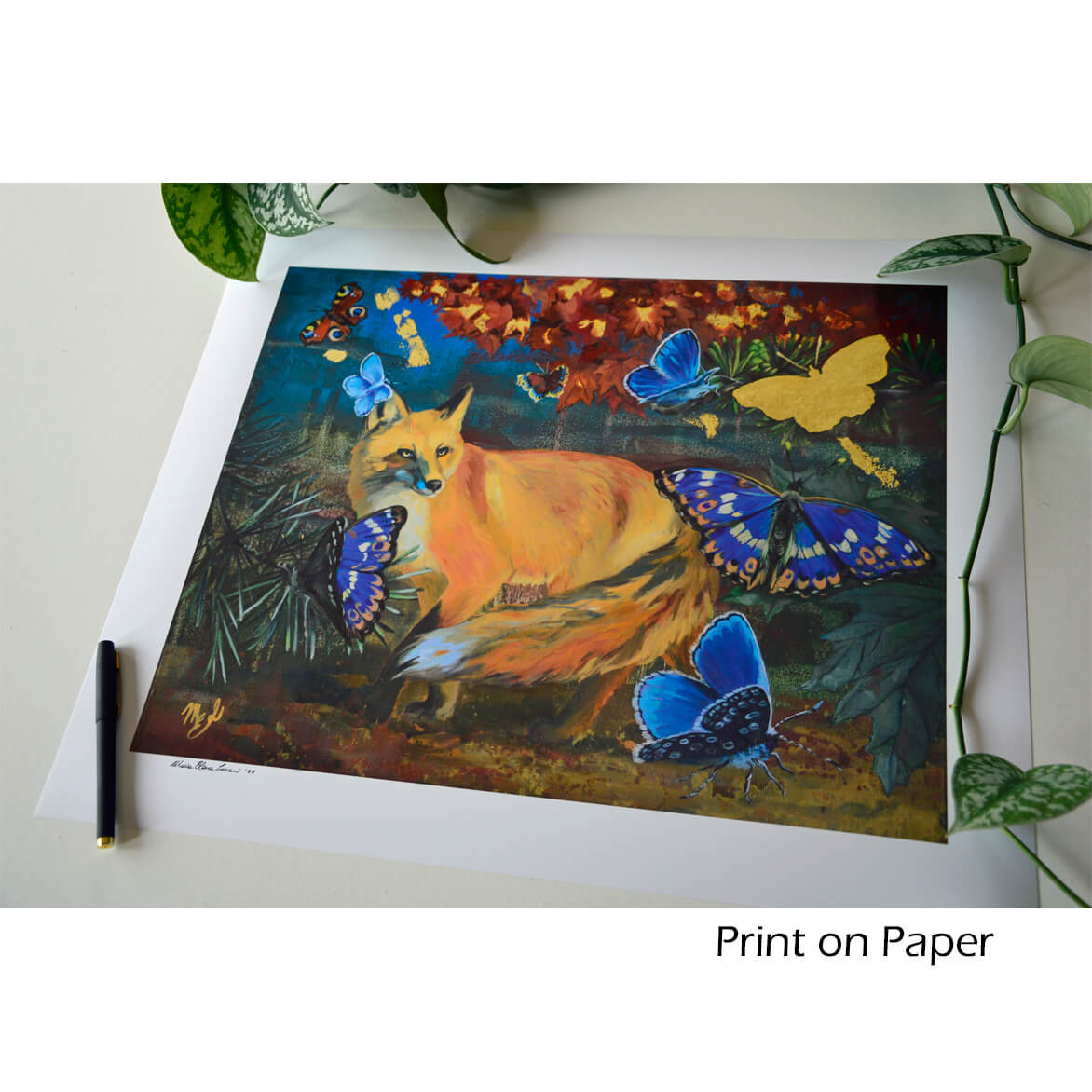 Image of a print on Paper with wildlife art.
