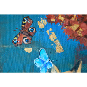 Portion of a painting with butterflies and gold leaf details.