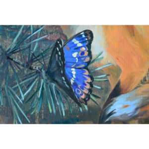 Detail of an oil painting representing a purple emperor buttefly.