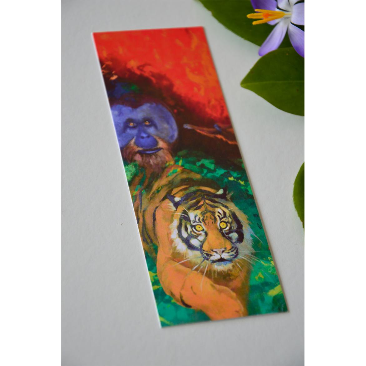 Bookmark with tiger and Orang Utan.