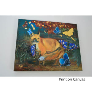 Wildlife-art-print with fox and butterflies.