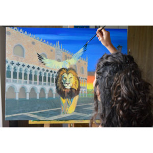 Artist painting a Venetian theme picture