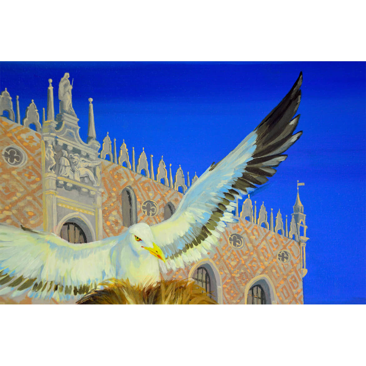 Herring gull painting with Venetian background