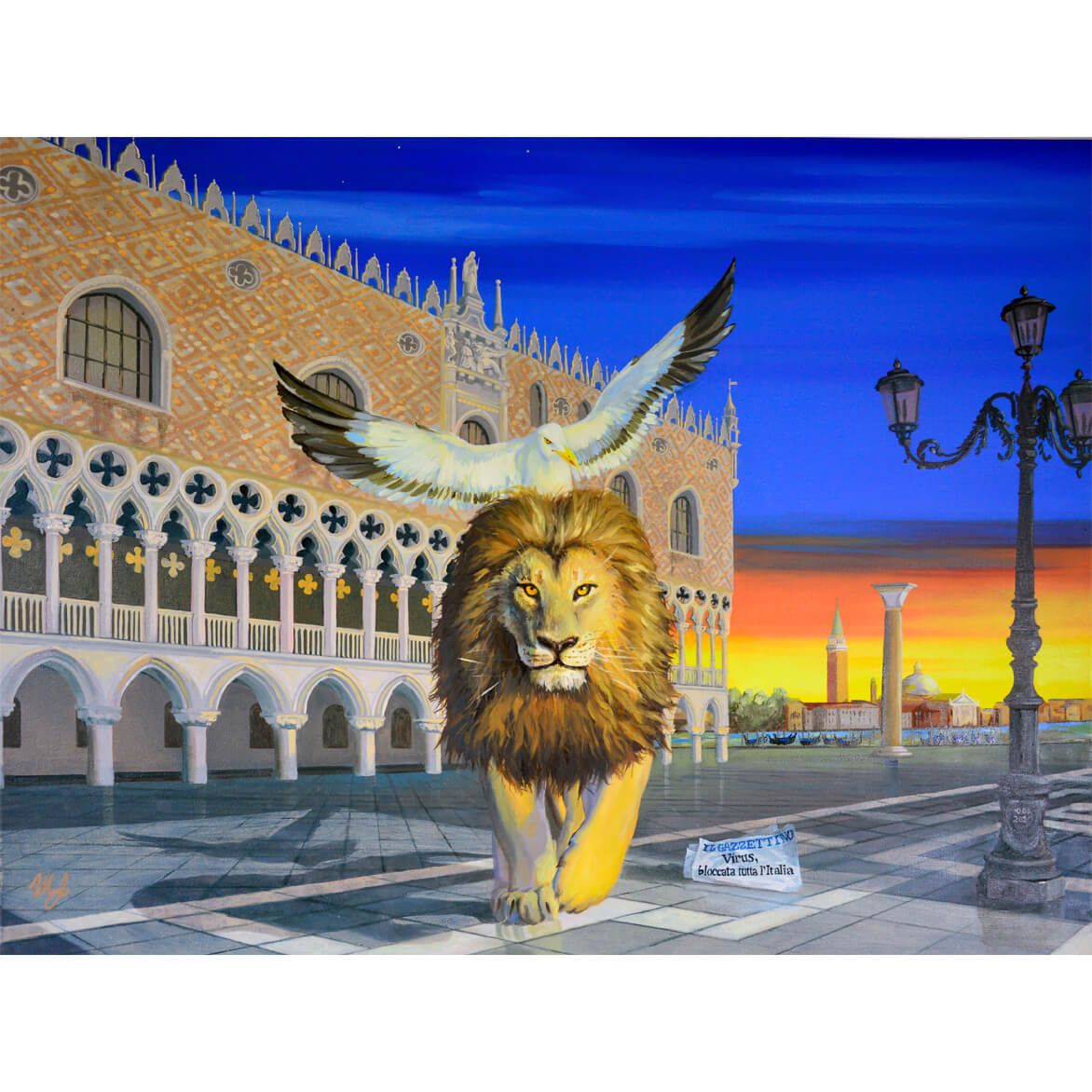 Lion of Venice with Doge Palace in background