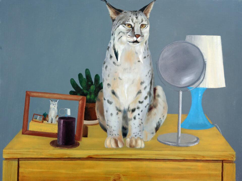 Lynx on the dresser, oil painting.