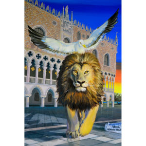 Oil painting representing St Mark lion