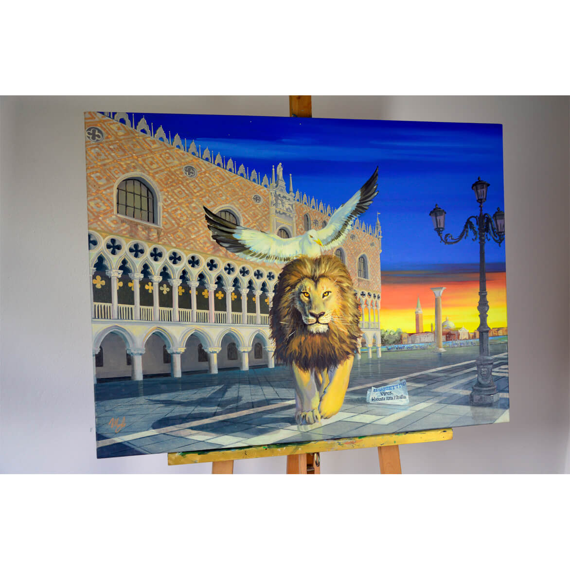 Panting wiht lion of Venice with Doge's Palace