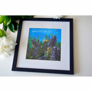 Acrylic painting of bees and flowers with frame