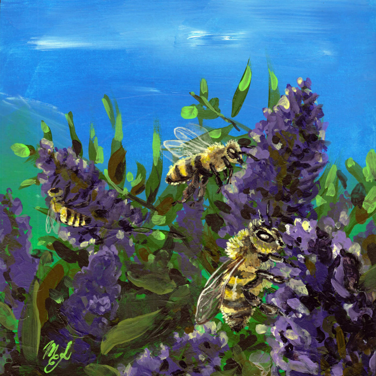 Acrylic painting of honeybees and flowers