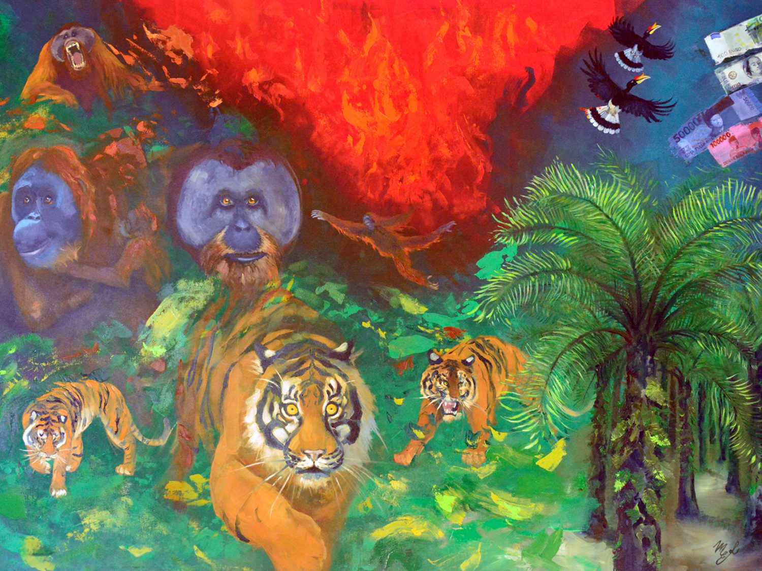 Wildlife conservation painting.