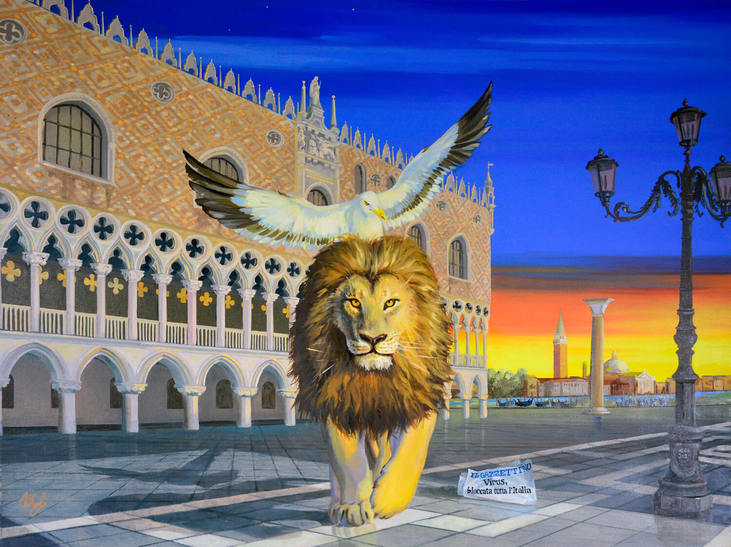 St Mark Lion inVenice painted by Luciani